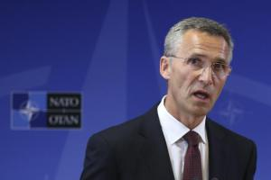 New NATO Secretary General Stoltenberg addresses a news conference in Brussels