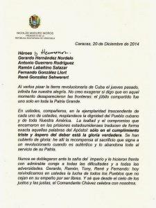 carta Maduro a los 5 Heroes pag 1